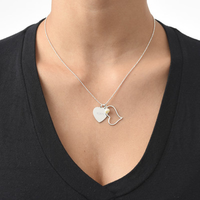 Engraved Heart Pendant with Hanging Pearl - 2