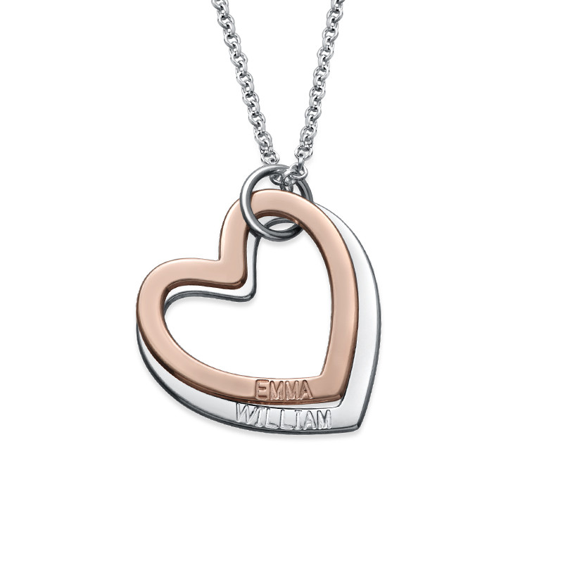 Multi-Tone Two Heart Necklace