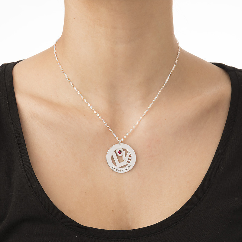 Circle Name Necklace with Birthstone - Yours Truly Collection - 1 - 2