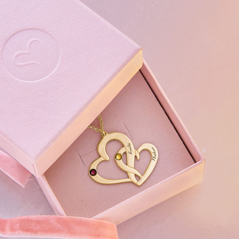 Engraved Two Heart Necklace with Gold Plating - 4
