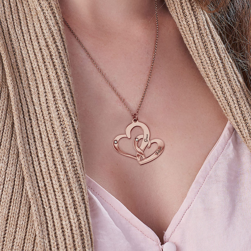Engraved Two Heart Necklace Rose Gold Plated  with Diamonds - 2