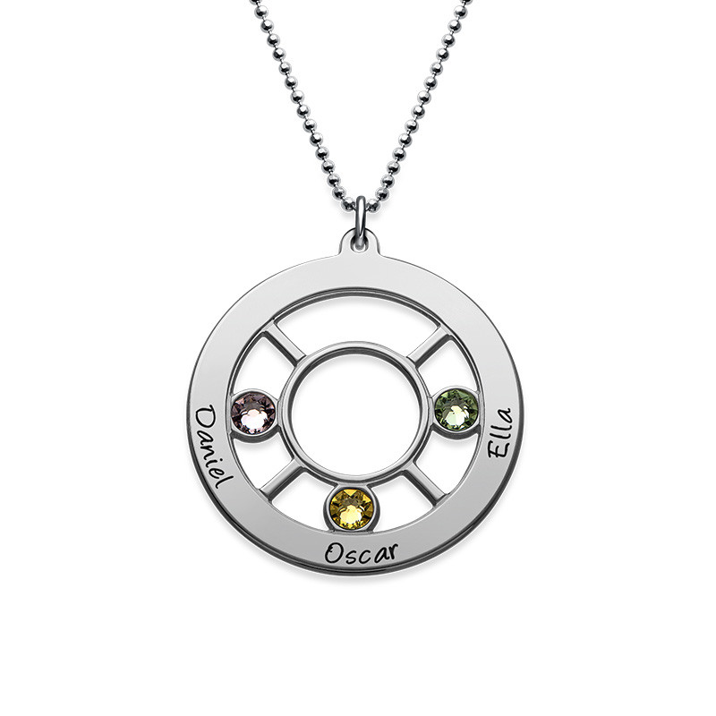 Personalised Family Circle Necklace with Birthstones