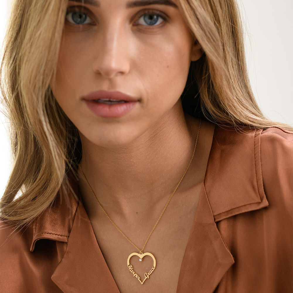 Heart Necklace in Gold Plating with Diamond - 1