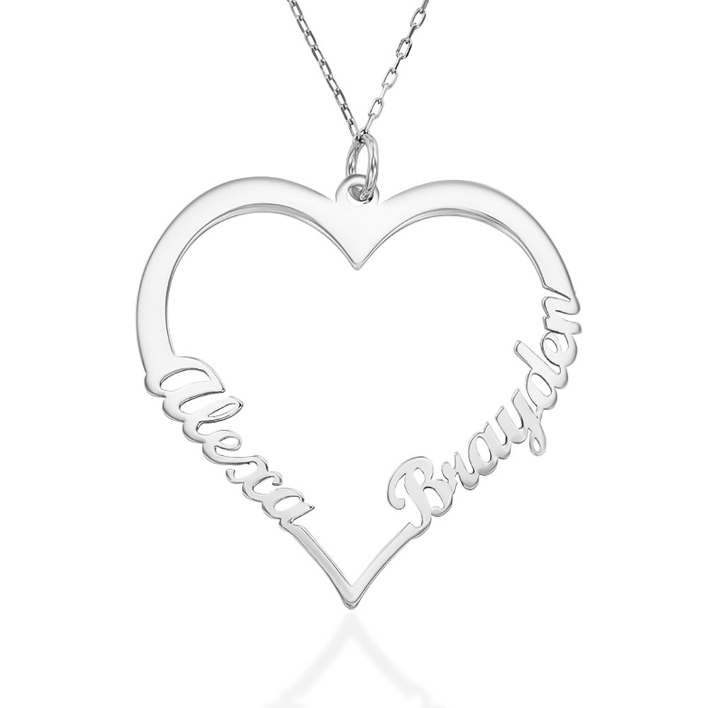 10ct White Gold Heart Necklace