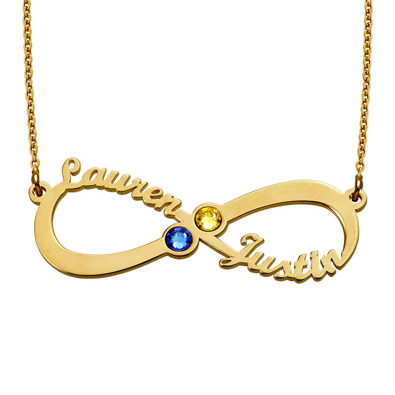 Infinity Name Necklace with Birthstones  - Gold Plated