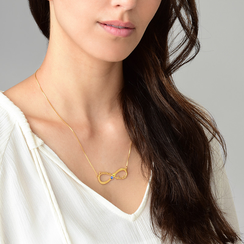 Infinity Name Necklace with Birthstones  - Gold Plated - 2