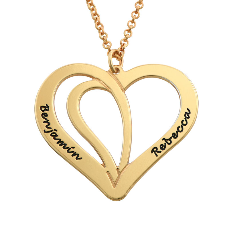 Engraved Couples Necklace in Gold Plated Sterling Silver