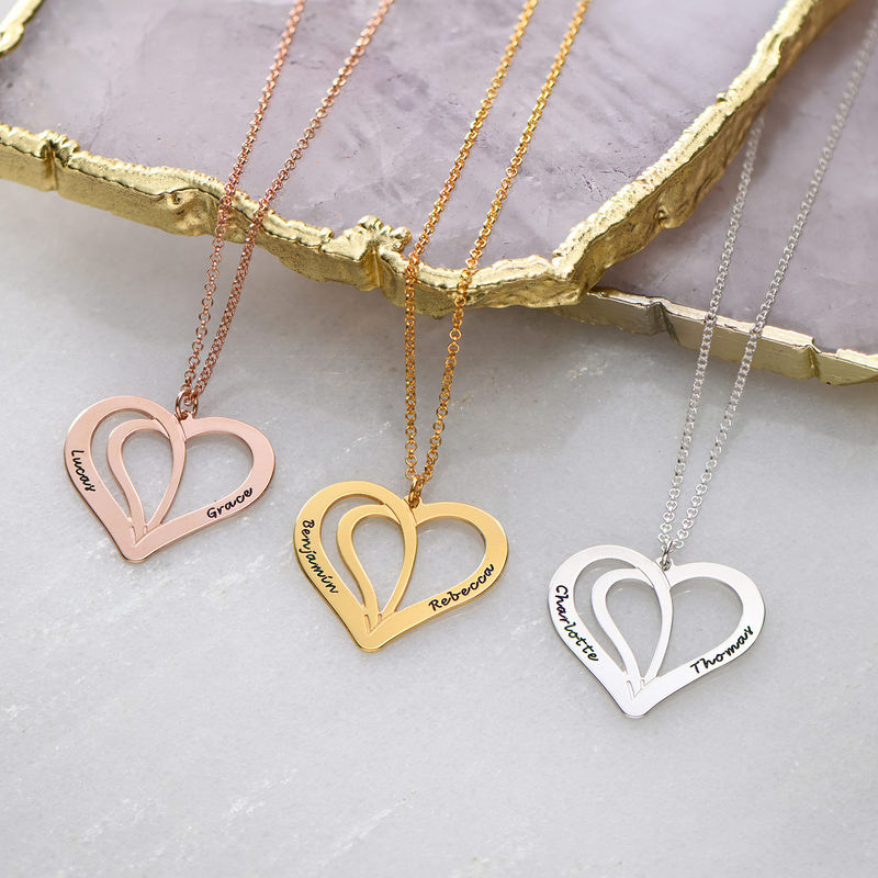 Engraved Couples Necklace in Gold Plated Sterling Silver - 1