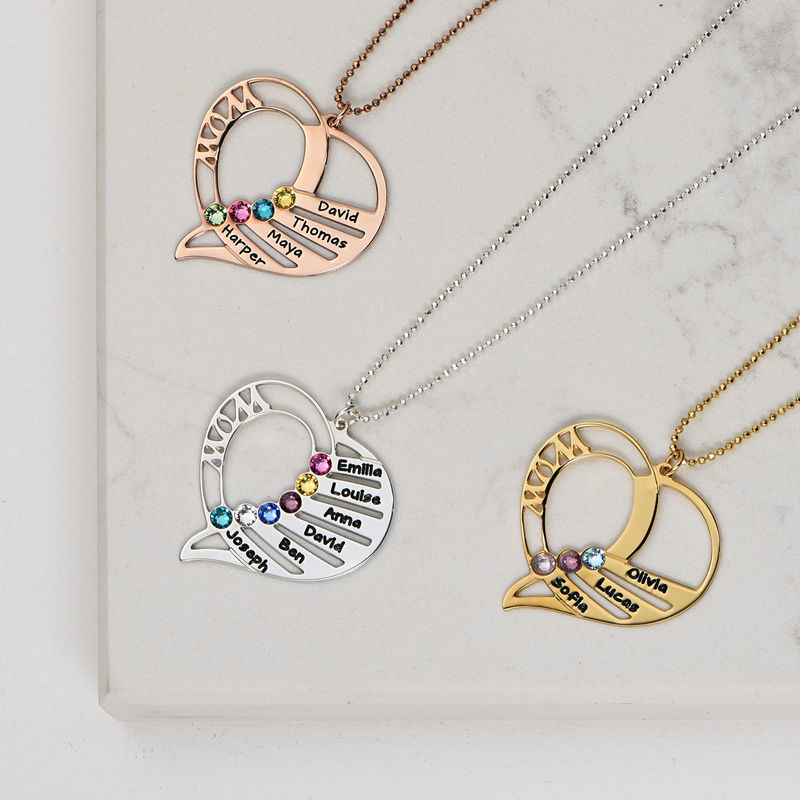Engraved Mum Birthstone Necklace  - Gold Plated - 3