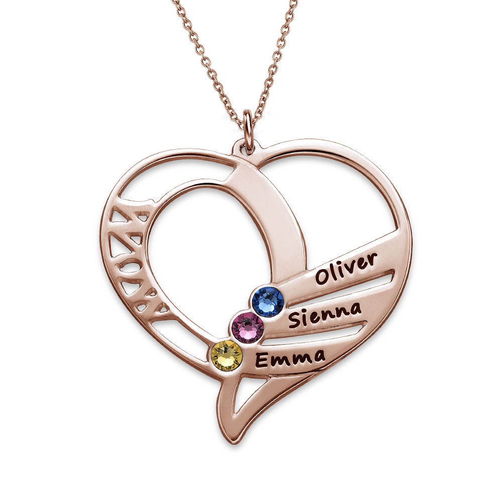 Engraved Mum Birthstone Necklace - Rose Gold Plated - 1