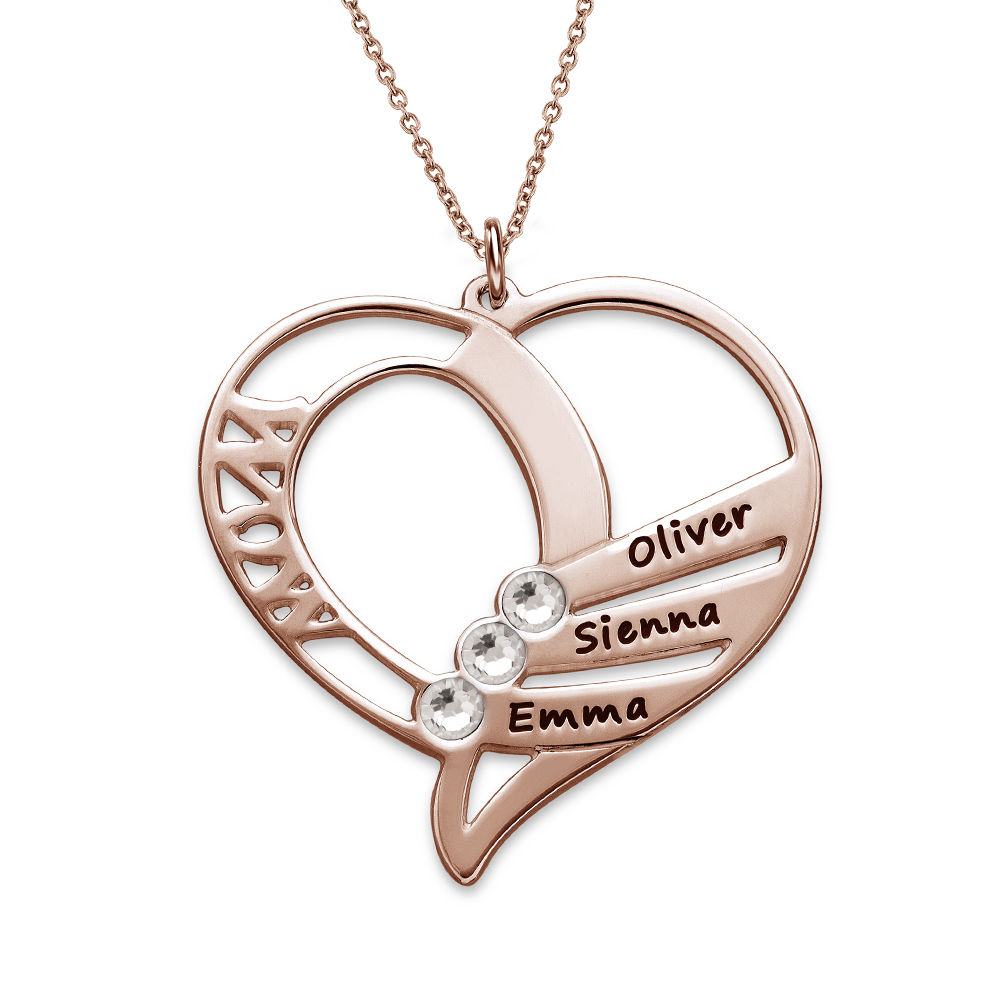 Engraved Mum Birthstone Necklace - Rose Gold Plated - 2