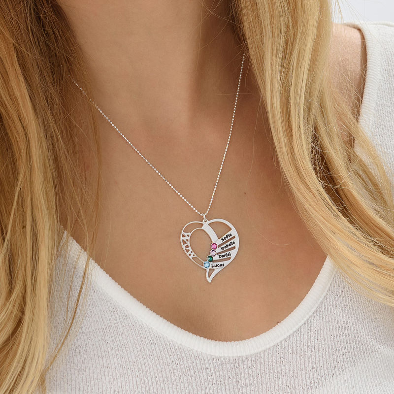 Engraved Mum Birthstone Necklace in 10ct White Gold - 1 - 2 - 3 - 4 - 5
