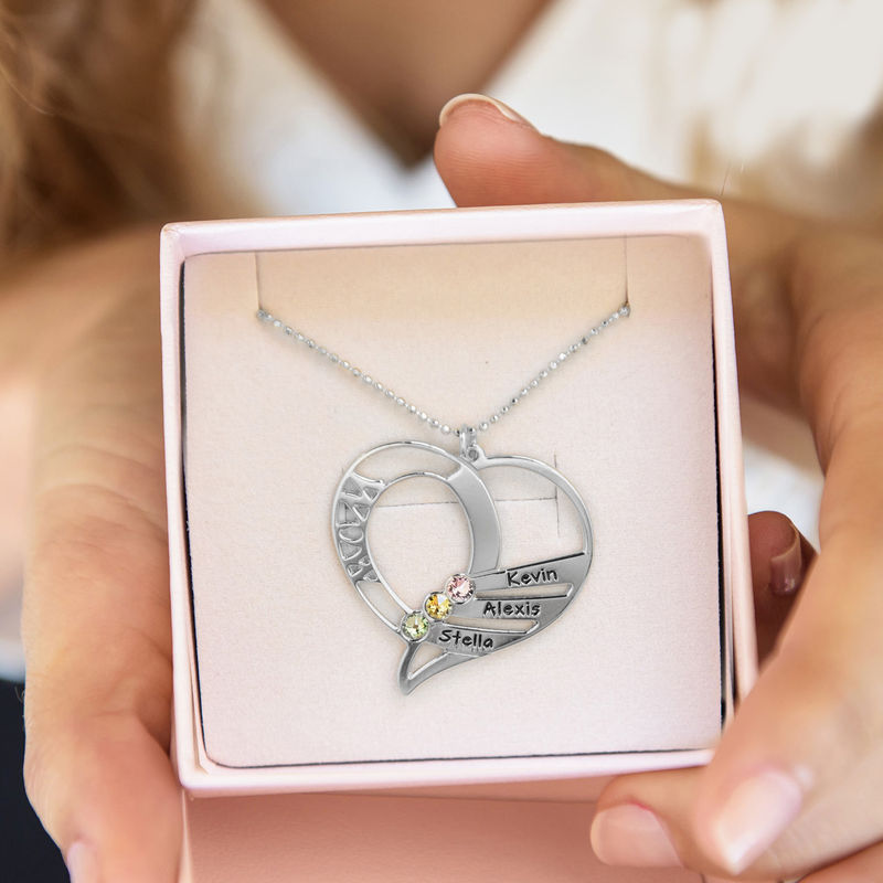 Engraved Mum Birthstone Necklace in 10ct White Gold - 1 - 2 - 3 - 4 - 5 - 6