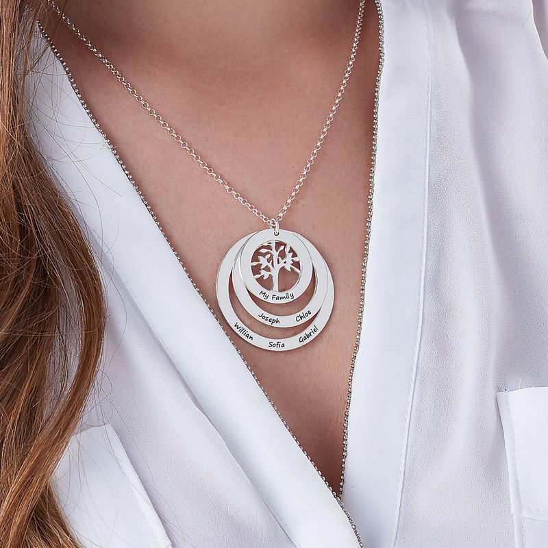 Family Circle Necklace with Hanging Family Tree - 3