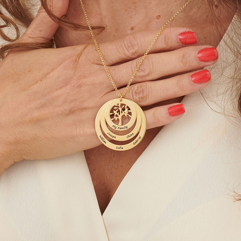 Gold Plated Family Circle Necklace with Hanging Family Tree - 3