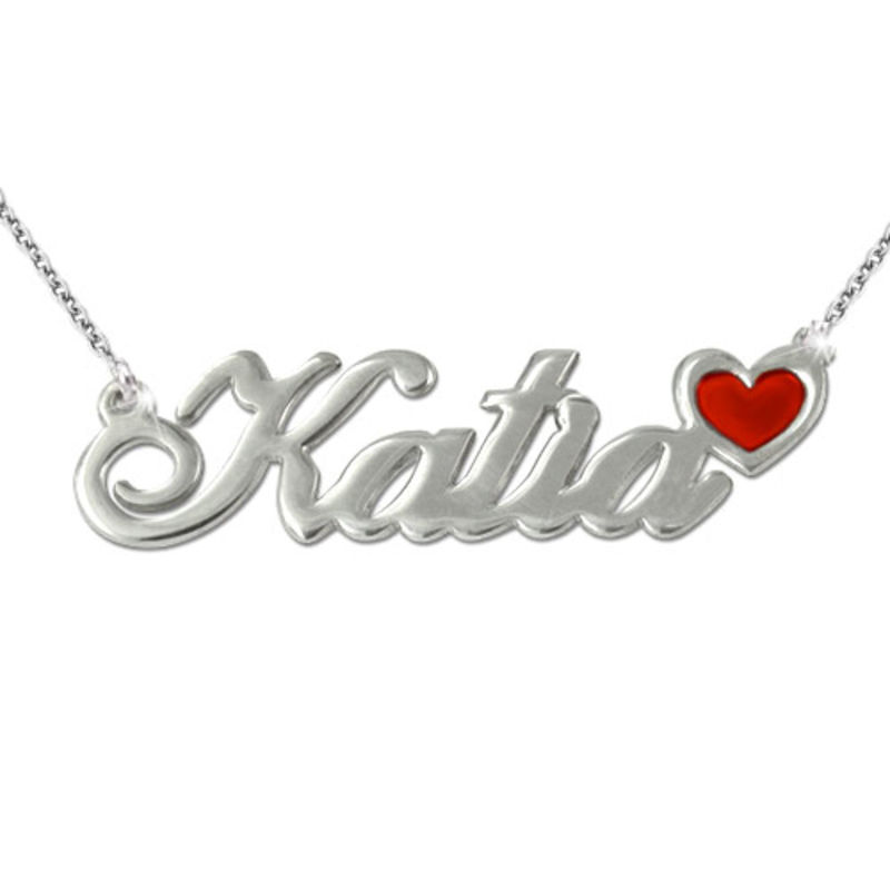 Sterling Silver Name Necklace with Colour Charm