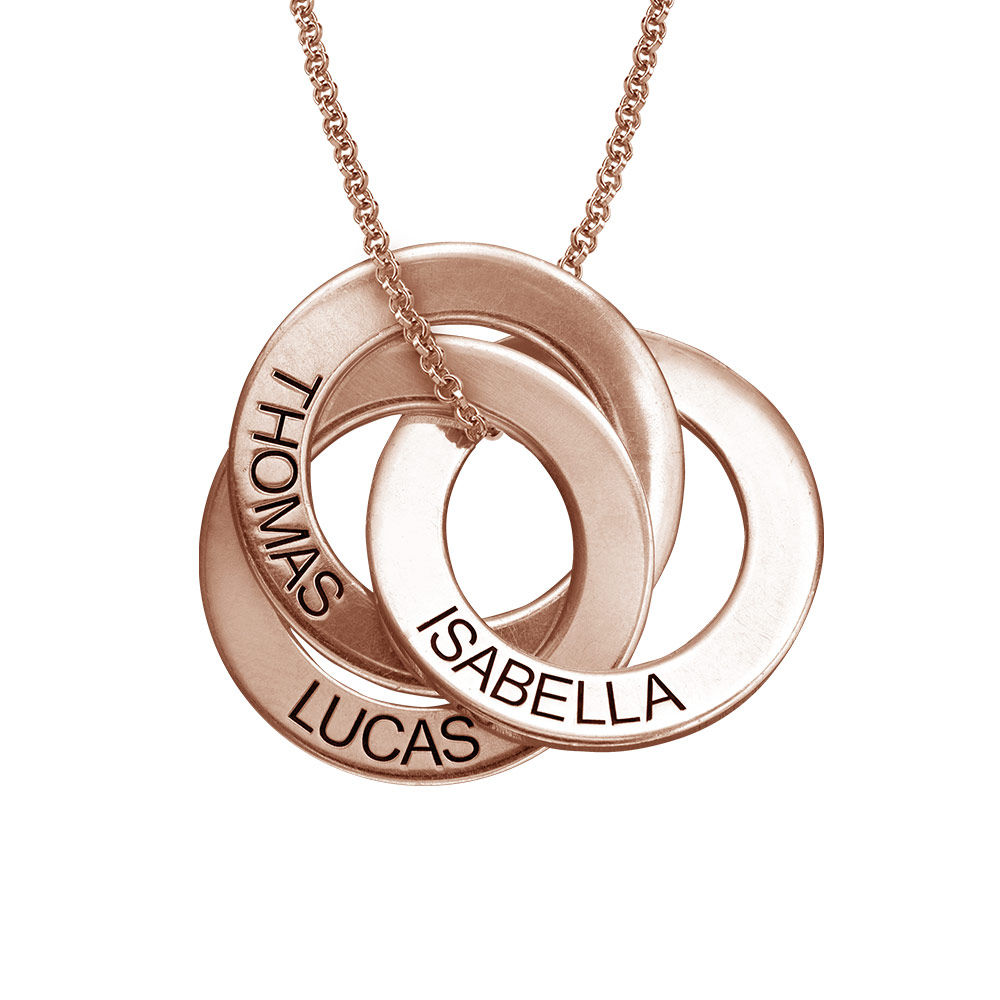 Russian Ring Necklace in Rose Gold Plating