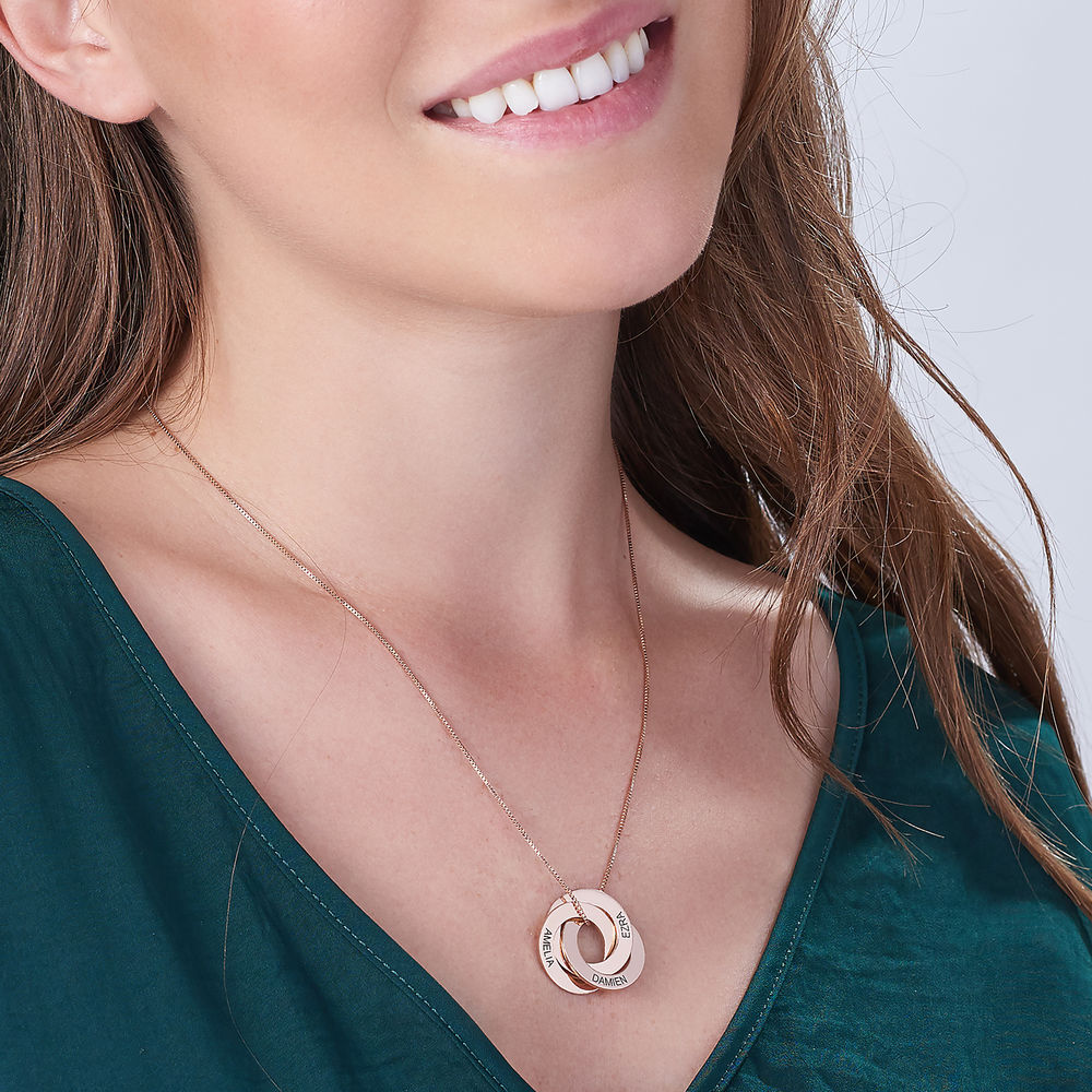 Russian Ring Necklace in Rose Gold Plating - 2