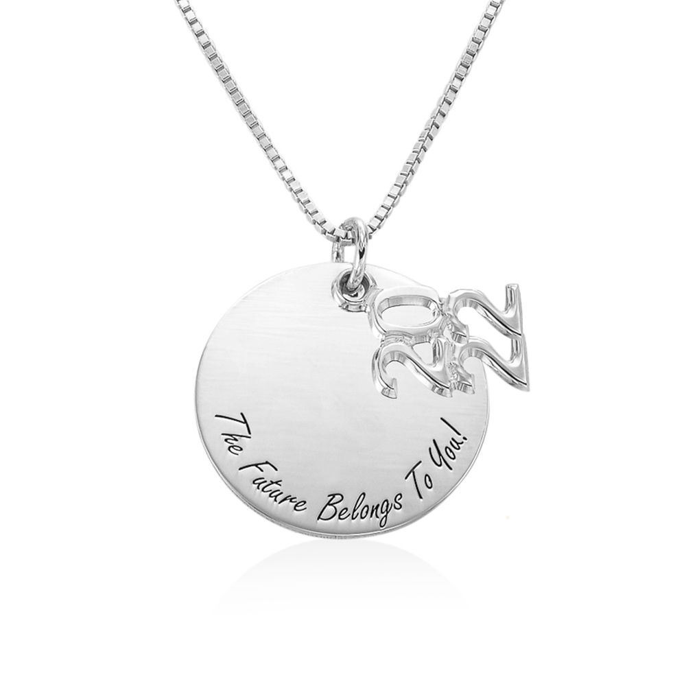 Engraved Graduation Necklace in Sterling Silver - 1