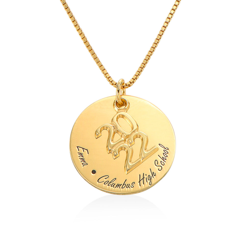 Engraved Graduation Necklace in Gold Vermeil