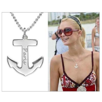 Sterling Silver Engraved Anchor Necklace - 2