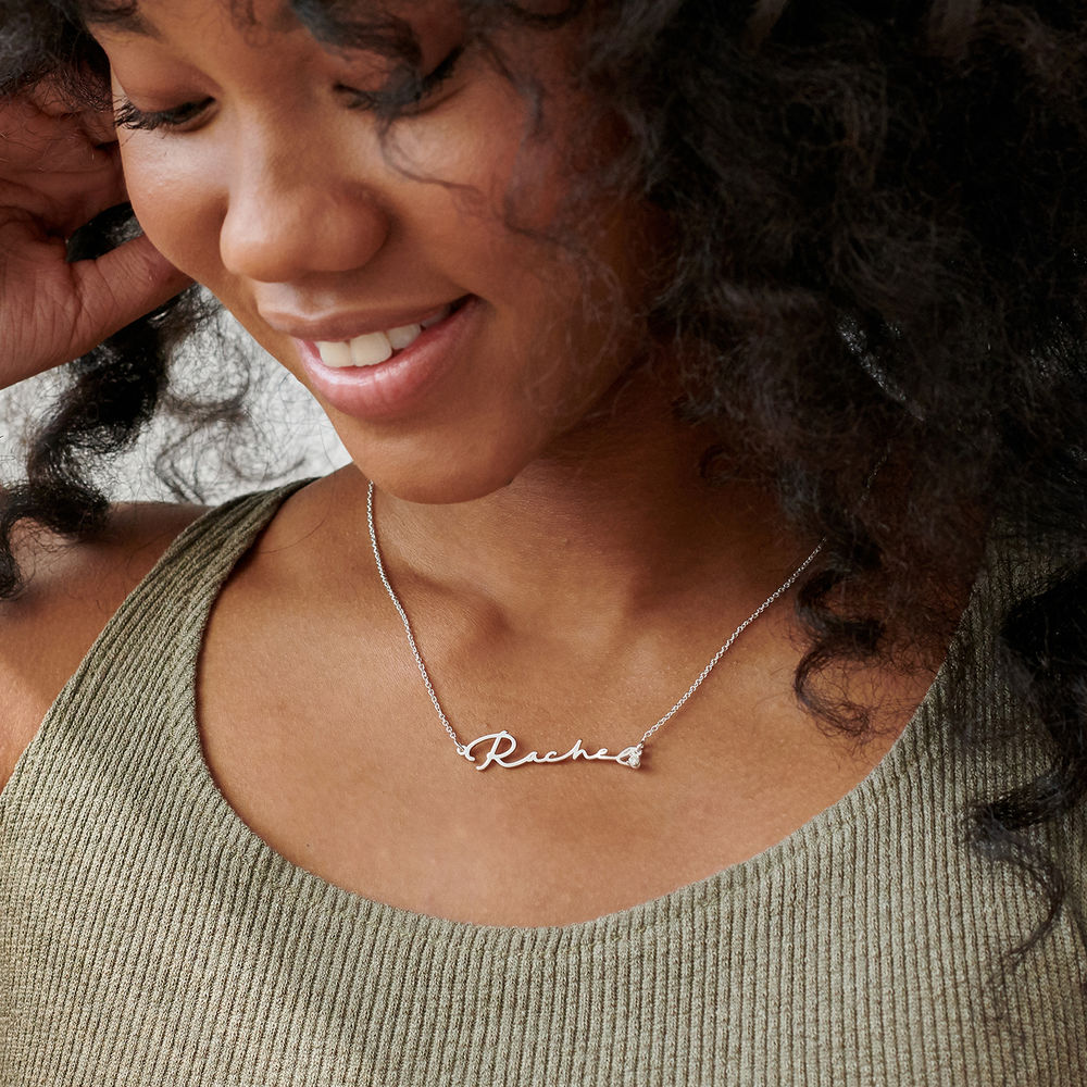 Signature Style Name Necklace in Sterling Silver with Diamond - 2