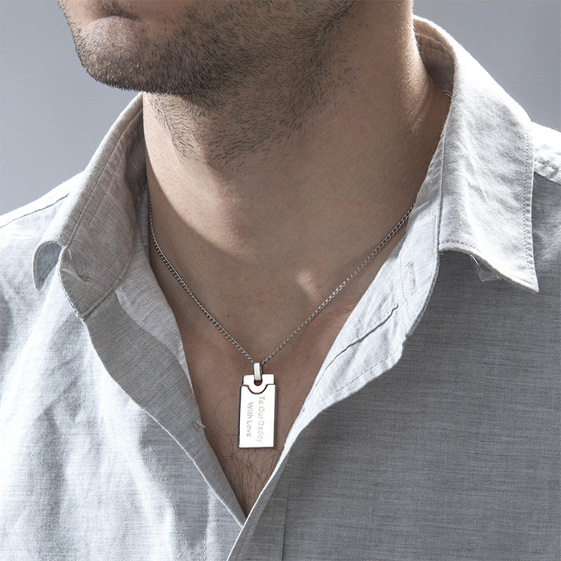 Custom Rectangular Dog Tag Necklace for Men in Stainless Steel - 1