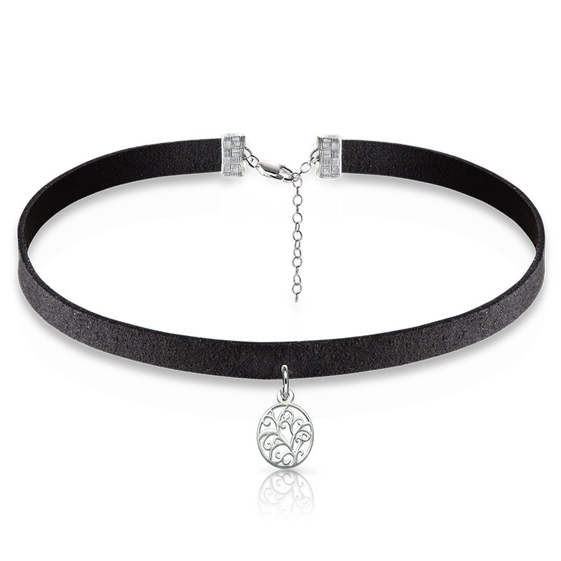Suede Choker Necklace with Tree Charm