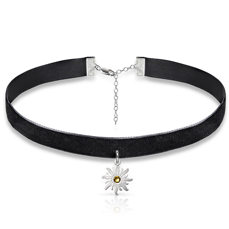 Black Choker Necklace with Birthstone Sun Charm