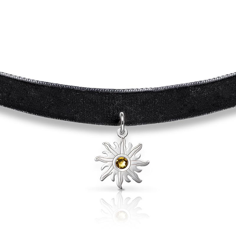 Black Choker Necklace with Birthstone Sun Charm - 1
