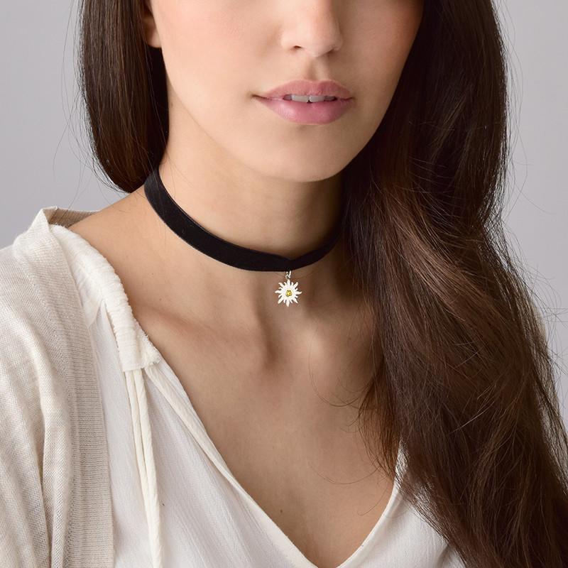 Black Choker Necklace with Birthstone Sun Charm - 1 - 2 - 3