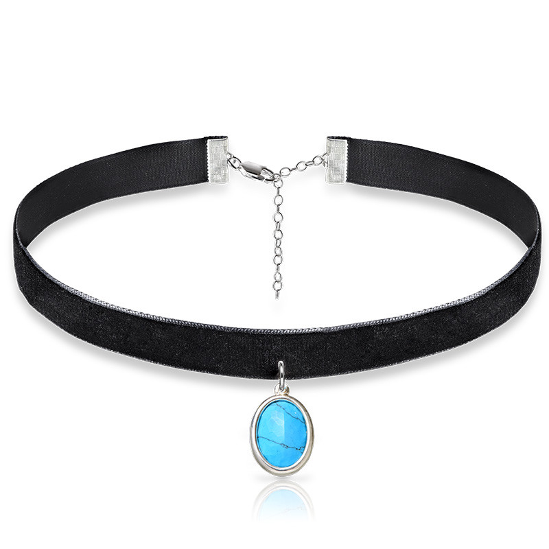 Black Velvet Choker with Personalised Stone