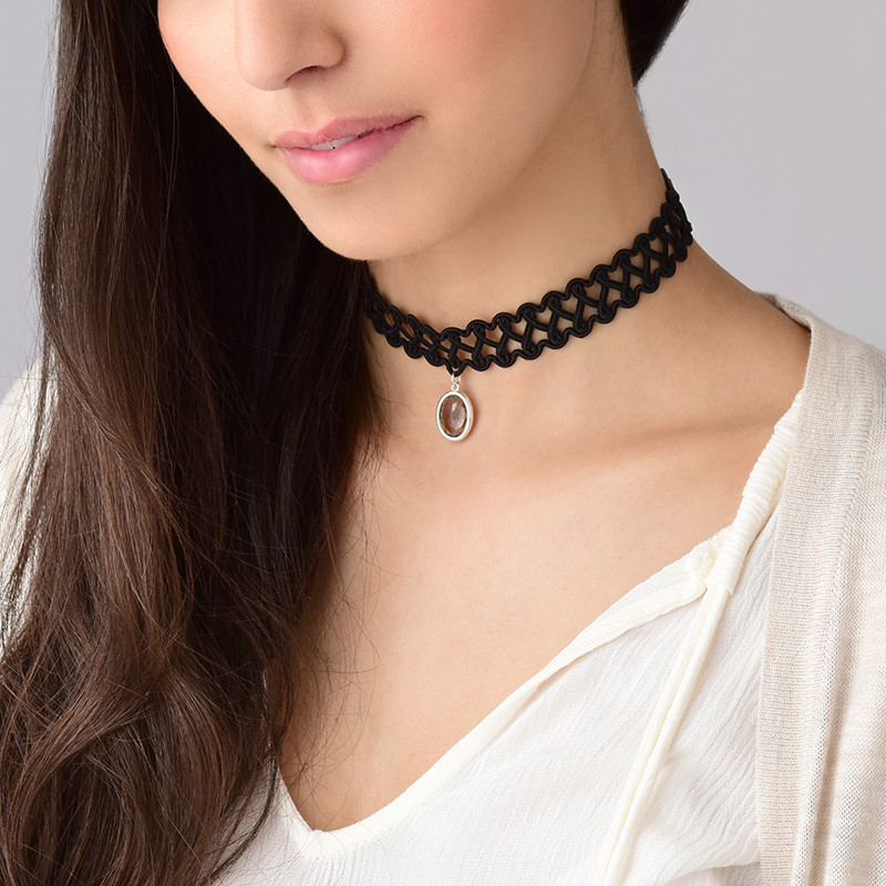Tattoo Neck Choker with Personalised Stone - 1 - 2 - 3