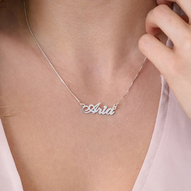 Small Sterling Silver Classic Name Necklace with Diamond - 2