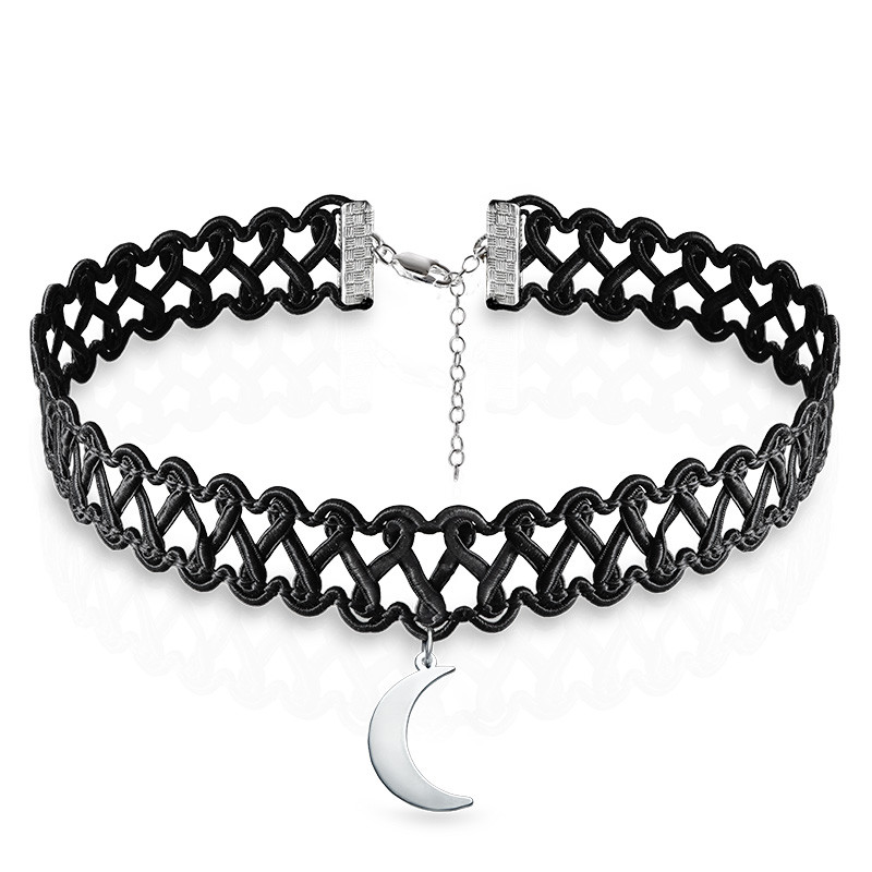 Tattoo Choker Necklace with Moon Charm