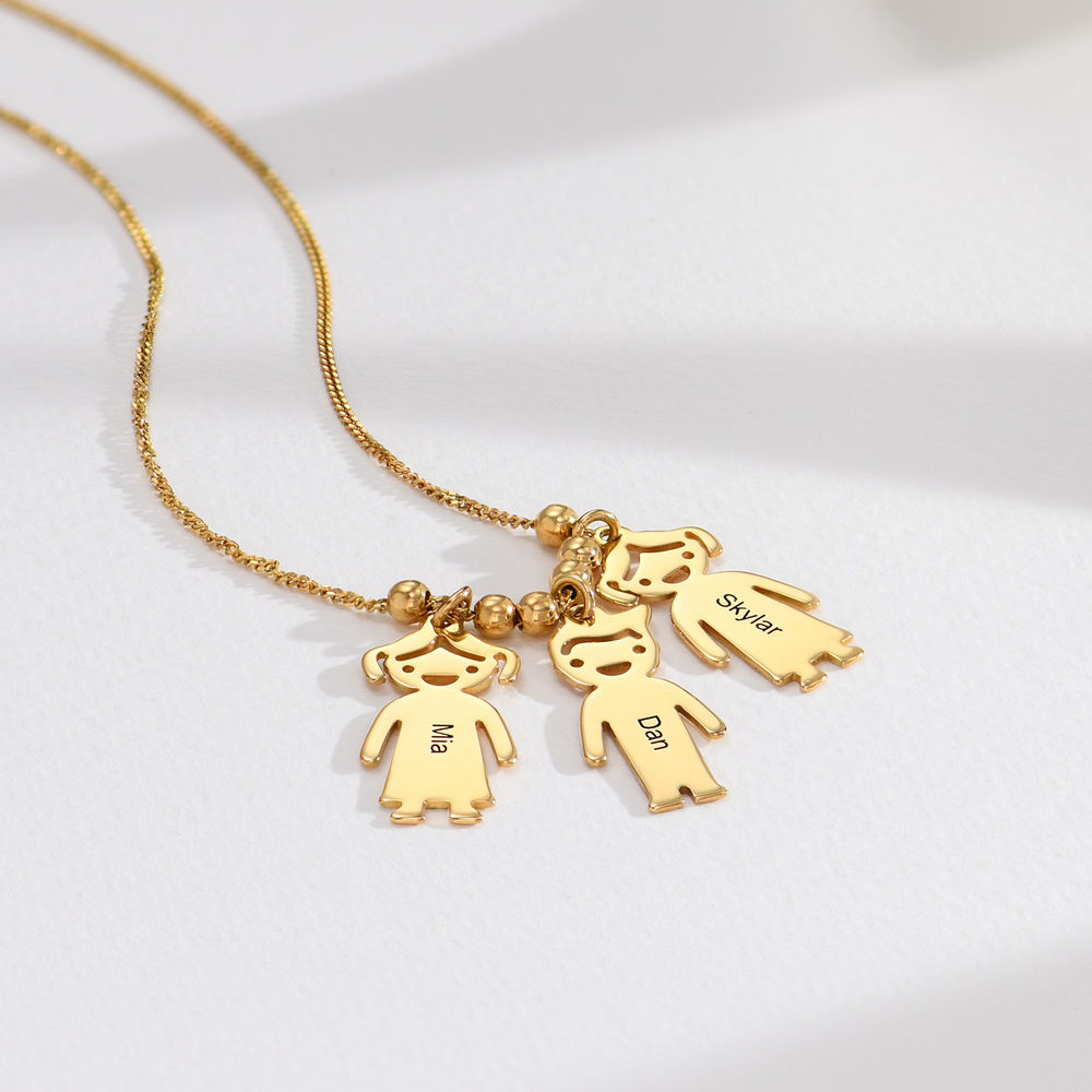 Gold Plated Mum Necklace with Engraved Kids Charms - 1