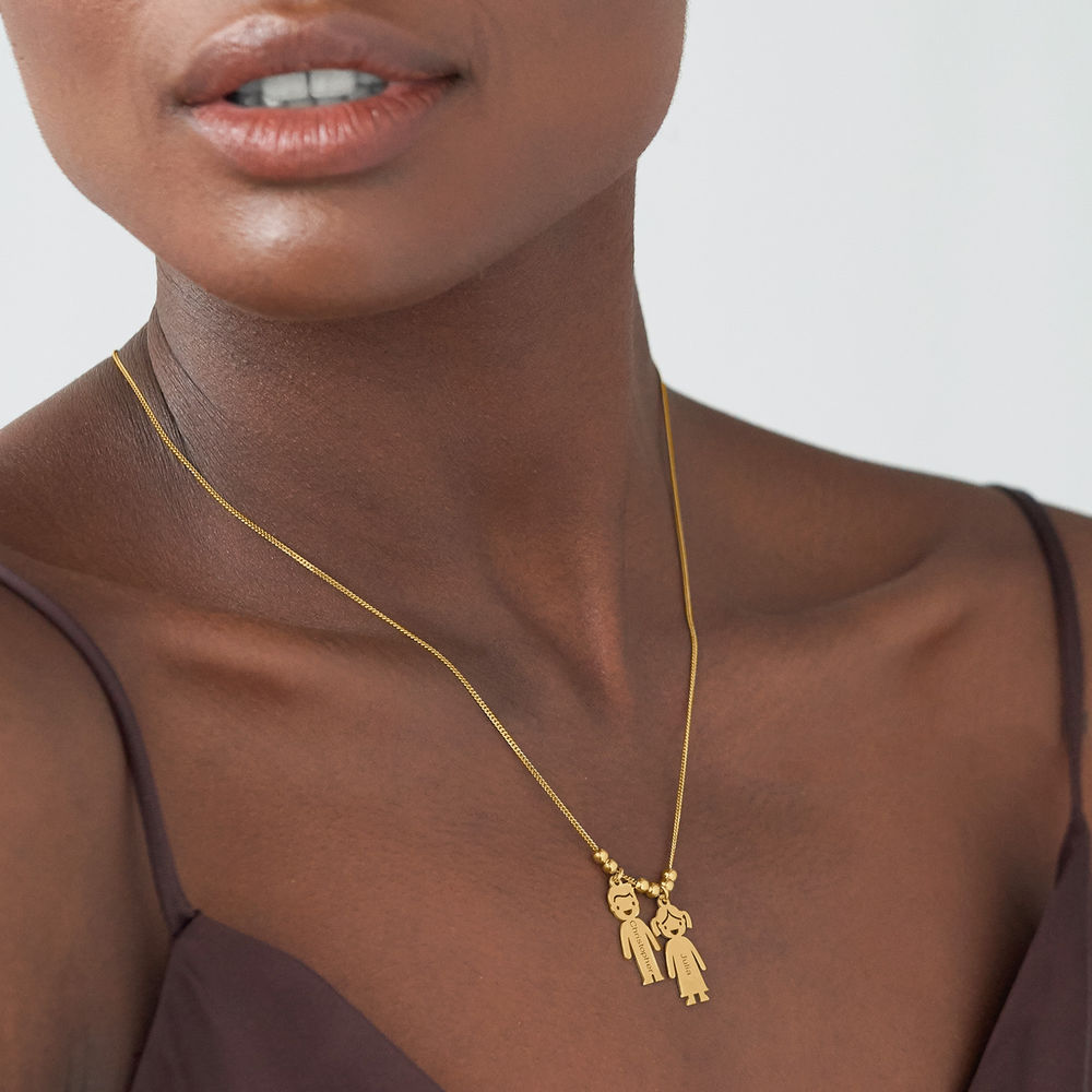 Gold Plated Mum Necklace with Engraved Kids Charms - 2