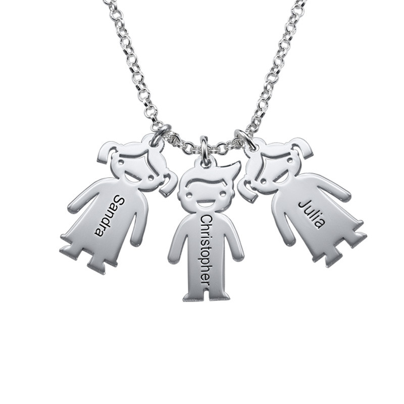 Engraved Necklace with Children Charms