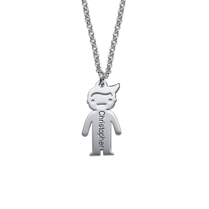 Engraved Necklace with Children Charms - 1
