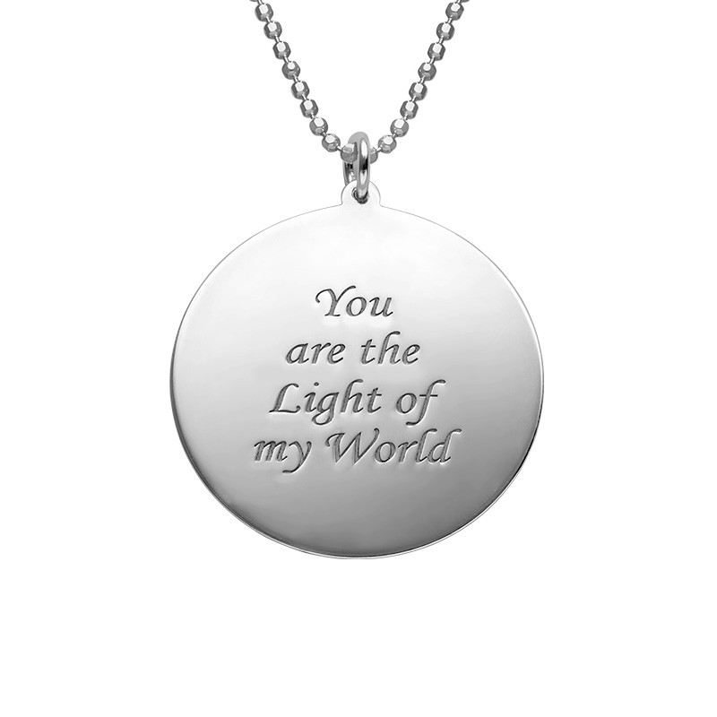 Round Pendant with Photo necklace in Sterling Silver - 1