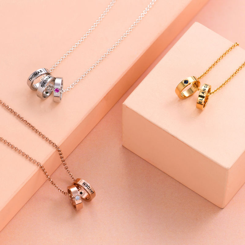 Rose Gold Plating Mother Ring Necklace with Engraving - 1