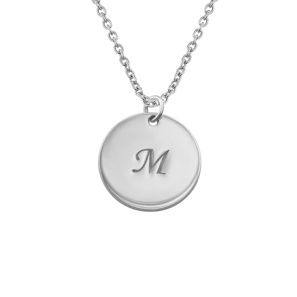 Personalised Sterling Silver Disc Pendant Initial Necklace - 1