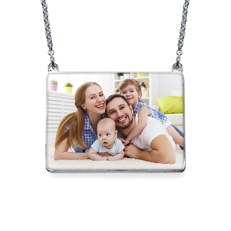 Engraved Photo Necklace - Rectangular Shaped