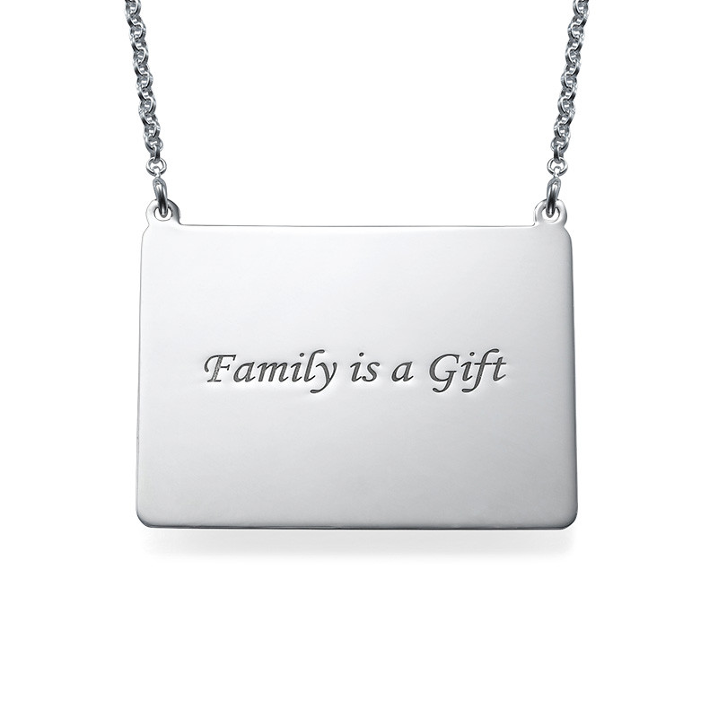 Engraved Photo Necklace - Rectangular Shaped - 1