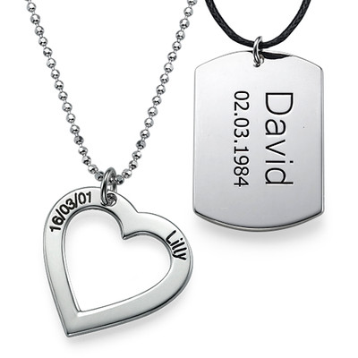 Silver Heart Necklace & Dog Tag Set