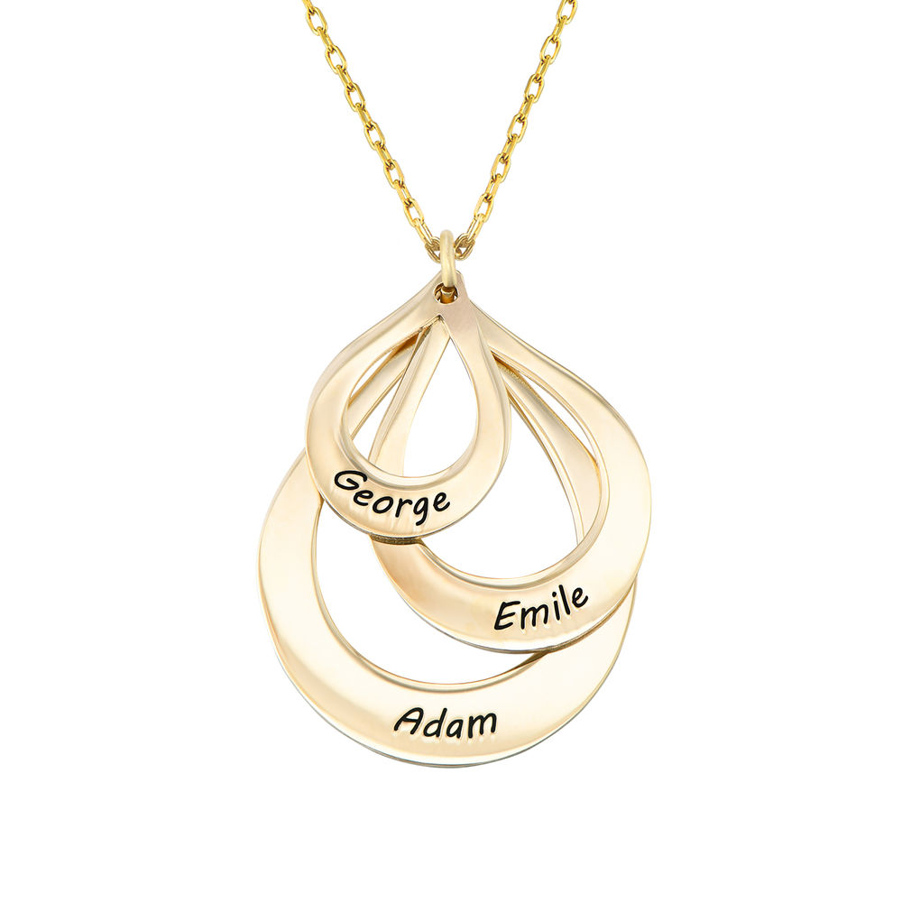 Engraved Family Necklace Drop Shaped in Gold 10ct - 1