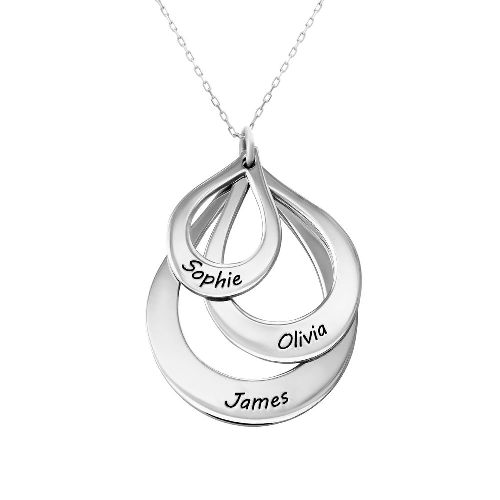 Engraved Family Necklace Drop Shaped in White Gold - 1