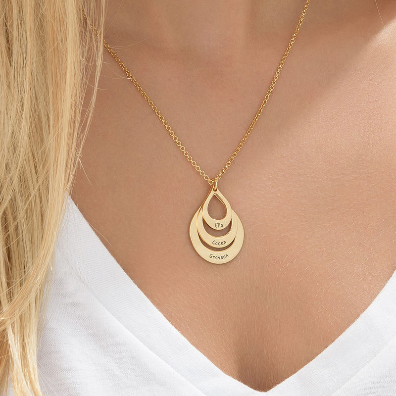 Engraved Family Necklace Drop Shaped in 18ct Gold Vermeil - 4
