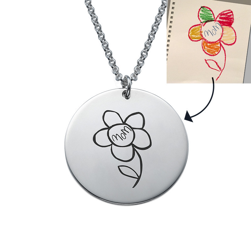 Disc Necklace for Mums with Kids Drawings - 1 - 2