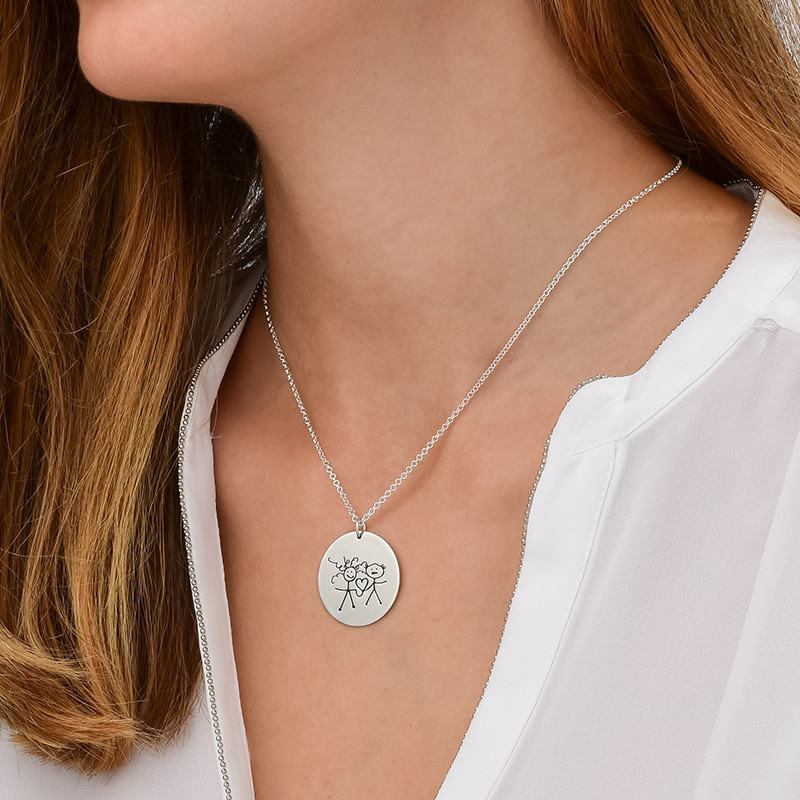 Disc Necklace for Mums with Kids Drawings - 1 - 2 - 3 - 4